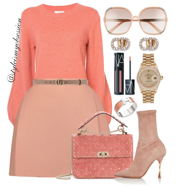 Style Inspiration Just Peachy Chloe Cashmere Sweater Delpozo Mini Skirt Valentino Suede Ankle Boots Valentino Suede Rockstud Bag Chloe Myrte Sunglasses.PNG