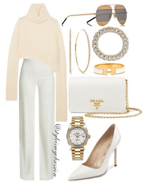 Style Inspiration Fall Whites Ann Demeulemeester Asymmetric sweater Brandon Maxwell Wide Leg Pants Manolo Blahnik BB Pumps Prada Shoulder Bag Dior Split Sunglasses.PNG