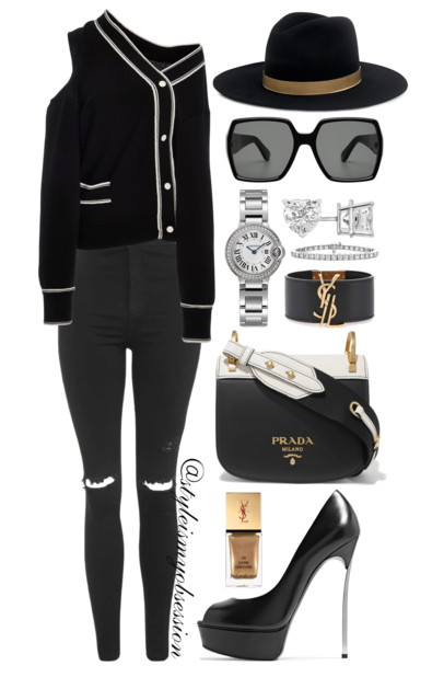 Style Inspiration She's Too Cool For School Monse Cardigan Topshop Skinny Jeans Casadei Platform Pump Prada Two-Tone Bag.PNG