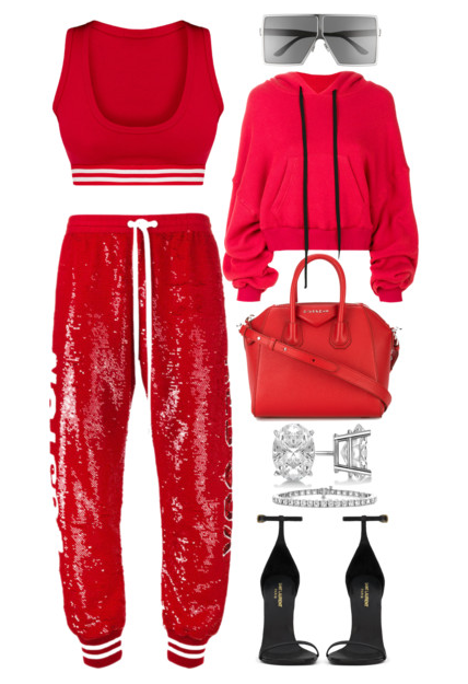 Style Inspiration The Champ Unravel Project Cropped Hoodie Ashish Sequin Red Sox Track Pants Saint Laurent Classic Jane Sandal Givenchy Antigona Bag.PNG