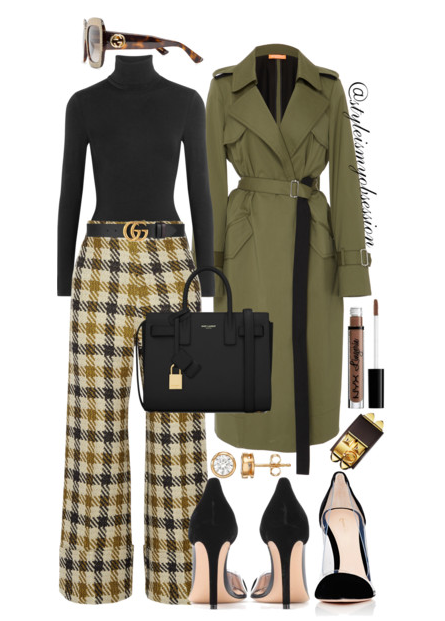 Style Inspiration Dressed For Fall Smarteez Olive Trench Coat Wolford Turtleneck Bodysuit SEA cropped checked tweed wide leg pants Gianvito Rossi Plexi Pump Saint Laurent Sac De Jour Bag.PNG
