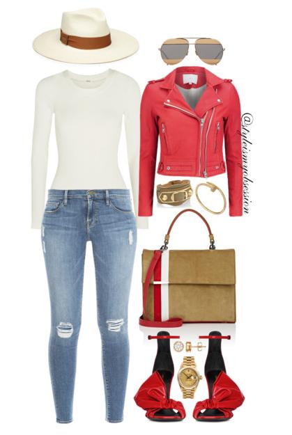 Style Inspiration Casual Vibe IRO Red Leather Jacket Wolford Berlin Bodysuit Frame Denim Le Skinny Jeans Saint Laurent Freja Sandal.PNG