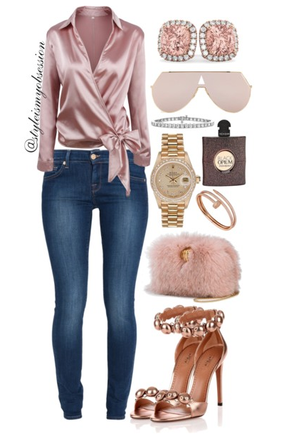 Style Inspiration Satin Chic Romwe Satin Wrap Blouse 7 For All Mankind Jeans Alaia Rose Gold Sandal Benedetta Bruzziches Carmen Hand Clasp Bag.PNG