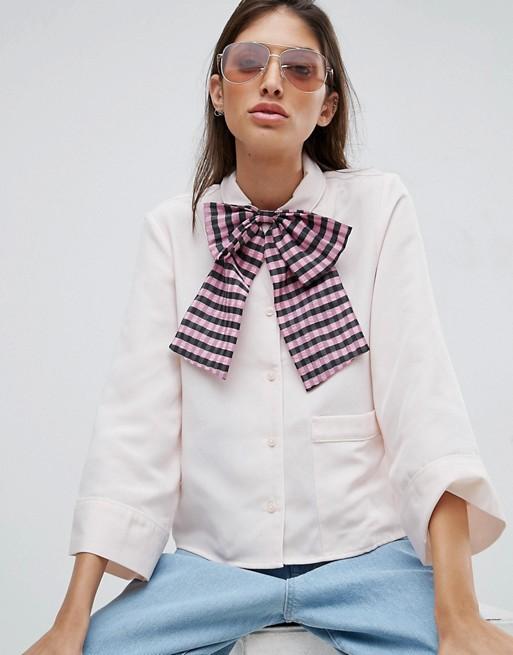 Asos Oversize Gingham Print Bow Tie