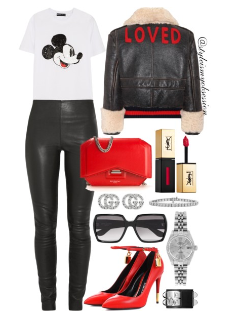 Style Inspiration Love & Labels Gucci Loved Shearling Jacket By Malene Birger Leather Leggings Markus Lupfer Mickey T-shirt Givenchy Bow Shoulder Bag Tom Ford Padlock Pumps.PNG