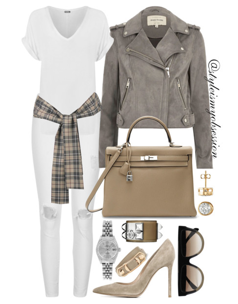 Style Inspiration Shades of Grey River Island Grey Faux Suede Jacket Hermes Kelly Bag Gianvito Rossi Suede Pump Celine Shadow Sunglasses.PNG
