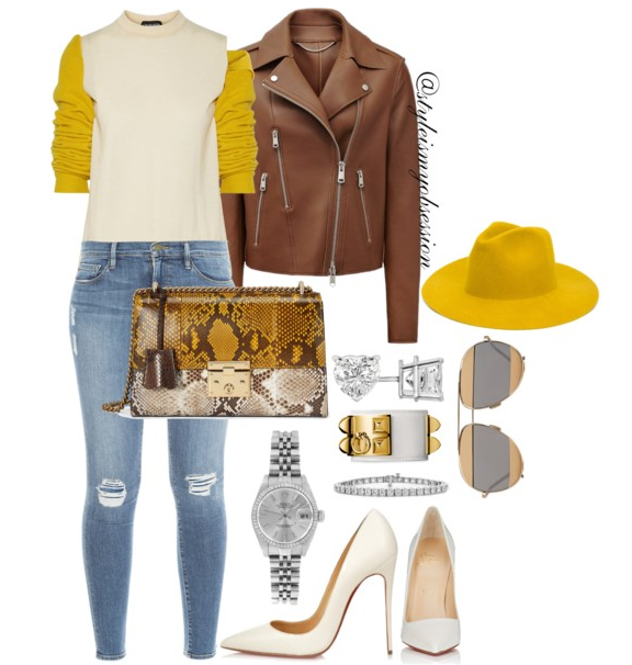 Style Inspiration Butterscotch Reiss Bonded Leather Jacket Calvin Klein 205W29NYC Sweater Frame Denim Le Skinny Jeans Christian Louboutin So Kate Pump Gucci Padlock Python Bag.PNG