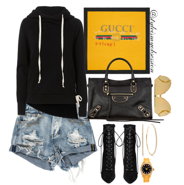 Style Inspiration The Future Is Gucci NSF Hoodie Gucci Coco Capitan Logo Scarf Balenciaga City Bag Steve Madden Satisified Bootie.PNG