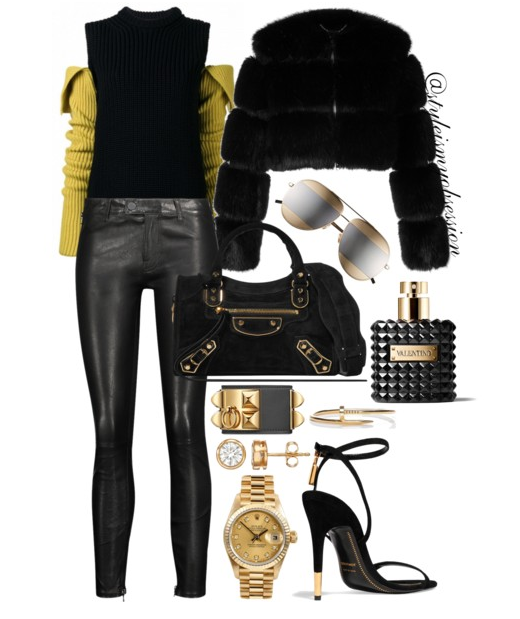 Style Inspiration Noir Givenchy Cropped Fur Jacket Sheek Shat Queen B Drop Sleeve Sweater J Brand Jamie Skinny Pants Tom Ford Padlock Sandal Balenciaga Mini City Bag.PNG
