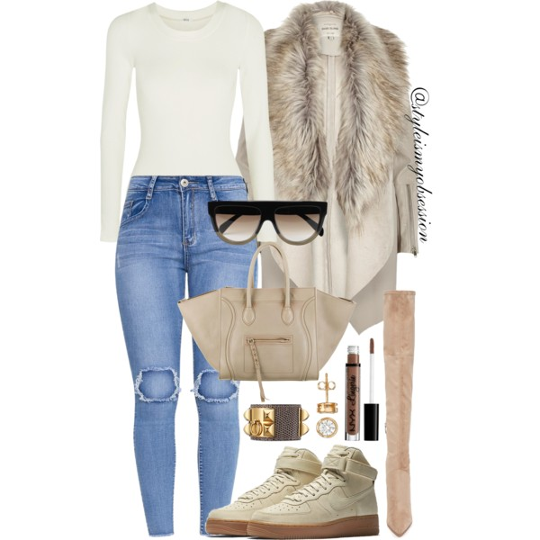 Style Inspiration She Can Do Both Nike Air Force 1 Kendall & Kylie Over The Knee Boot Celine Shadow Bag Wolford Colorado Bodysuit.JPG