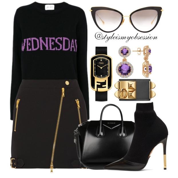 Style Inspiration A Day Late Alberta Ferretti Wednesday Sweater Moschino Asymmetric Mini Skirt Balmain Aurore Boots Givenchy Antigona Bag.PNG