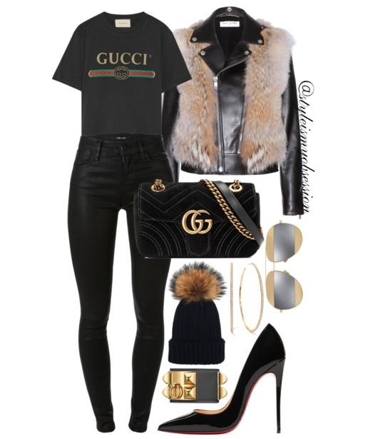 Style Inspiration All-Black Gucci Saint Laurent Fur and Leather Jacket Gucci Print T-shirt J Brand Maria Skinny Jeans Christian Louboutin So Kate Pump Gucci GG Marmont Velvet Shoulder Bag.PNG