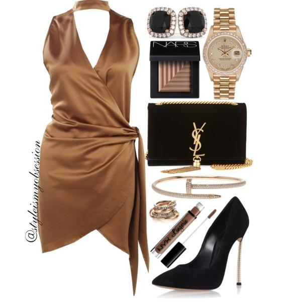 Style Inspiration Bronze Bombsheel Boohoo Choker Wrap Dress Casadei Pearl Blade Pump Saint Laurent Kate Velvet Shoulder Bag.PNG