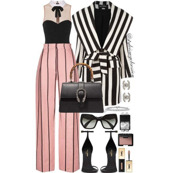 Pink Pinstripes Balmain Coat Fleur Du Mal Bodysuit Wisdom Pinstripe Trousers.jpg