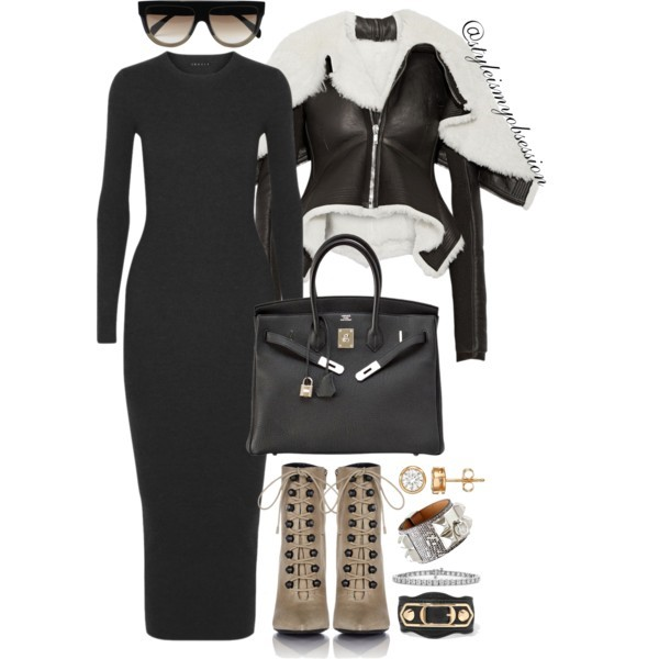 Style Inspiration To The Max Rick Owens Metro Biker Jacket Theory Ribbed Maxi Sweater Dress Balenciaga Ankle Boots.jpg