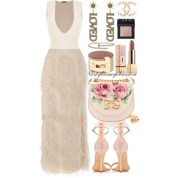 Style Inspiration Winter Romance Sally LaPointe Feather Lace Pencil Skirt Casadei Adele Blade Sandal Dolce & Gabbana Rose Print Shoulder Bag.jpg