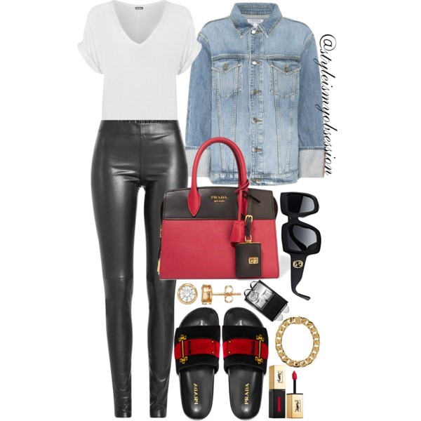Style Inspiration Slide Through Prada Velvet Slides Frame Denim Denim Jacket Prada Saffiano Bag.jpg