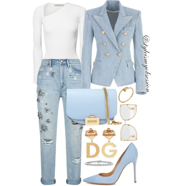 Style Inspiration Charming Balmain Denim Blazer Juicy Couture Embellished Girlfriend Jeans Gianvito Rossi Suede Pump.jpg