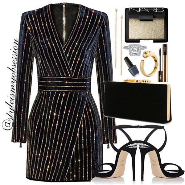 Style Inspiration Kiss At Midnight Uonbox Embellished Velvet Mini Dress Giuseppe Zanotti Coline Sandal Jimmy Choo Celeste Clutch.jpg