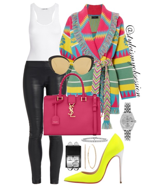 Style Inspiration Fiesta Time Alanui Jacquard Cardigan The Row Leggings Saint Laurent Baby Cabas YSL Bag Saint Laurent So Kate Pump.PNG