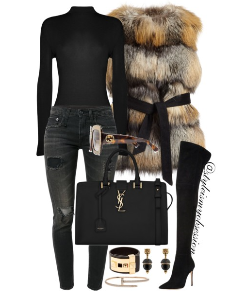Style Inspiration Foxy Lady Gorski Fox Fur Vest Gianvito Rossi Over the Knee Boots Saint Laurent Cabas YSL Bag.PNG