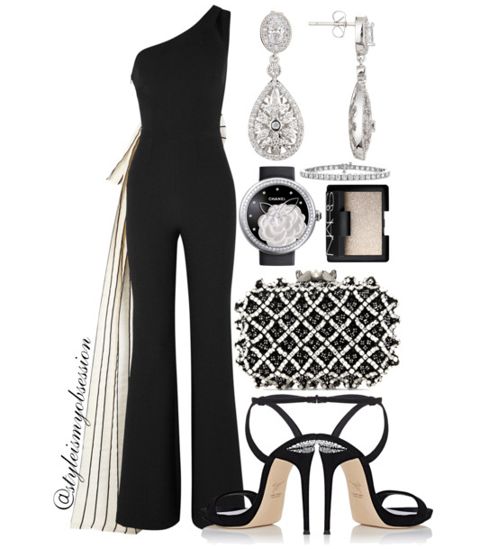 Style Inspiration Holiday Ball SAFiYAA Black Bow Jumpsuit Jimmy Choo Cloud Embellished Clutch Giuseppe Zanotti Coline Slingback Sandal.PNG
