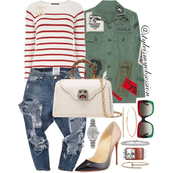 Style Inspiration Army Brat Madeworn Rolling Stones Army Jacket Gucci Gatto Medium Top Handle Bag Christian Louboutin Degrade Pump.jpg