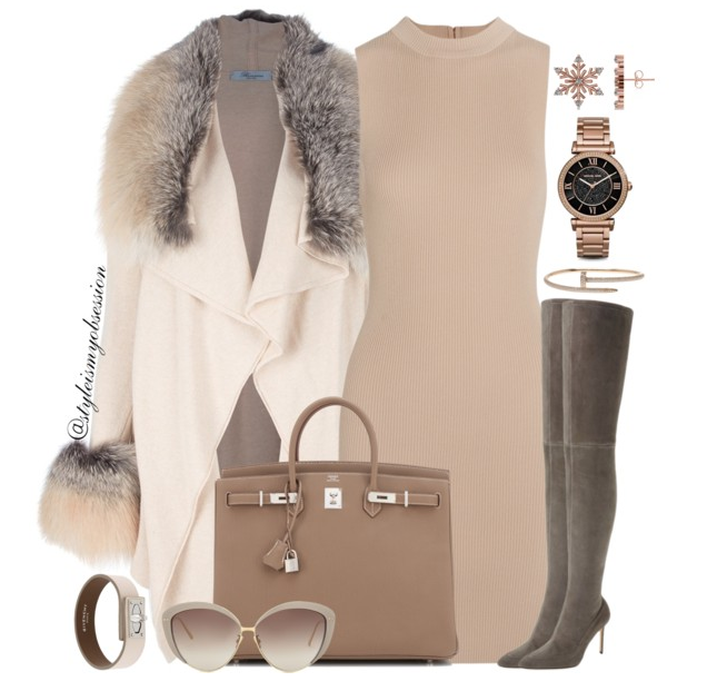 Style Inspiration Cup of Cocoa Blumarine Fur Trim Coat Tart Collections Ribbed Dress Pour La Victoire Thigh High Boots Hermes Birkin Bag.PNG
