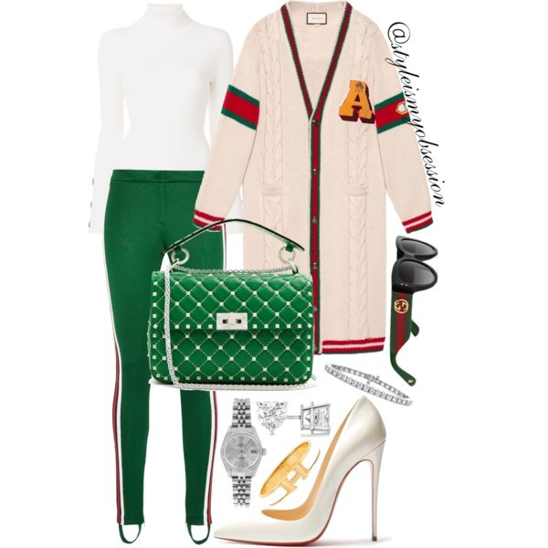 Style Inspiration Holiday Cheer Gucci Chunky Cable Knit Cardigan Gucci Striped Jersey Leggings Christian Louboutin So Kate Pump Valentino Free Rockstud Spike Bag.jpg
