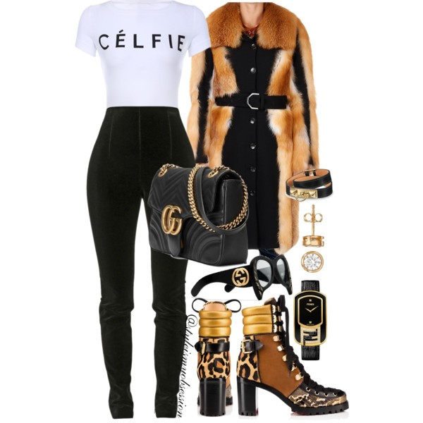Style Inspiration Selfie Queen Viktor & Rolf Fur Coat Balmain Velvet Leggings Christian Louboutin Who Runs Boots Gucci GG Marmont Shoulder Bag.jpg