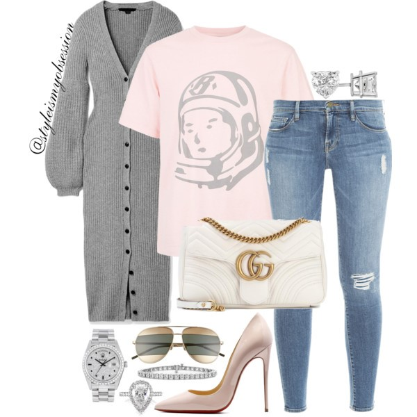 Style Inspiration The Billionaire's Club Alexander Wang Cardigan Billionaire Boy's Club T-shirt Gucci GG Marmont Bag Christian Louboutin So Kate Pump.jpg