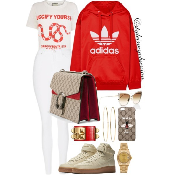 Style Inspiration Last Minute Adidas Hoodie Gucci Guccify Yourself T-Shirt Gucci GG Supreme Canvas Bag Nike Air Force 1 High SE Sneakers.jpg