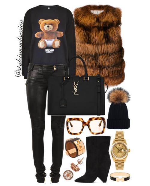 Style Inspiration Baby Bear Yves Salomon Fox Fur Gilet Moschino Bear Print Sweatshirt Balmain Pants Saint Laurent Niki Boots Saint Laurent Cabas Bag.PNG