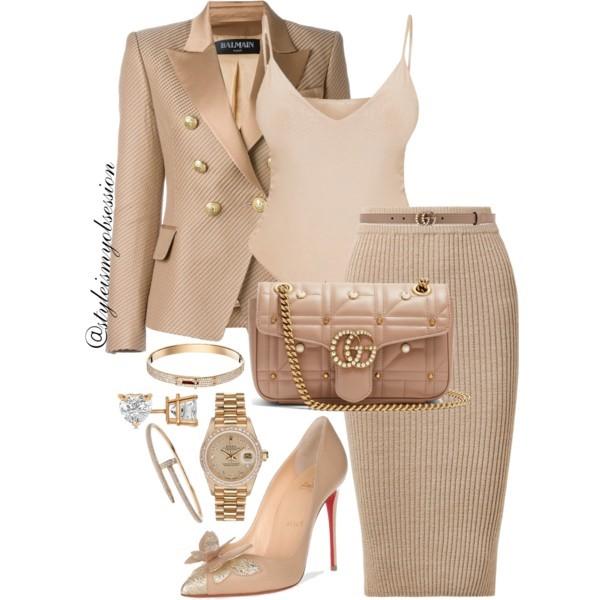 Style Inspiration Caramel Twist Balmain Textured Blazer Gucci GG Marmont Shoulder Bag Christian Louboutin Maripopump Pump.jpg