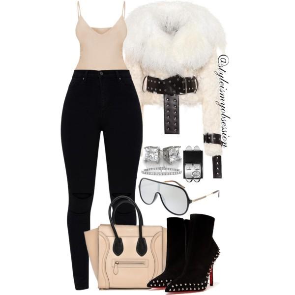Style Inspiration Aspen Monse Shearling Jacket Celine Phantom Bag Gucci Shield Sunglasses.jpg