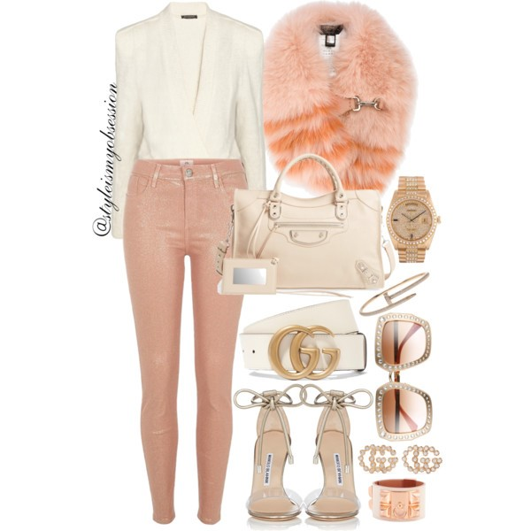 Style Inspiration Peach Sorbet Balmain Knit Sweater River Island Peach Coated Skinny Jeans Balenciaga Metallic Edge City Aj Tote Bag Manolo Blahnik Estro Sandals Fendi Striped Fur Stole.jpg