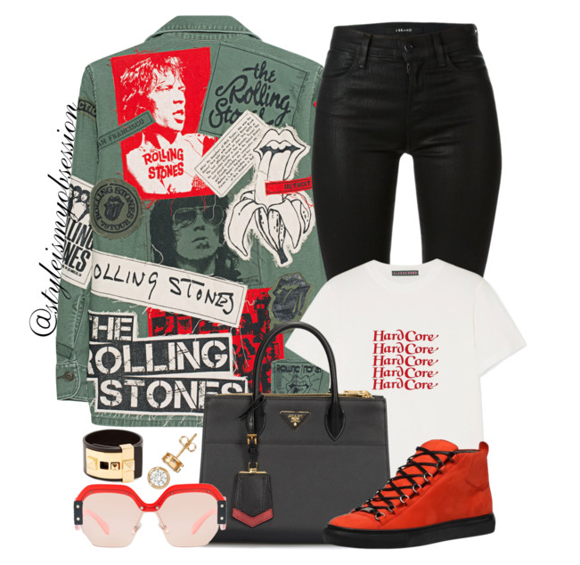 Style Inspiration Hard Core Made Worn Rolling Stones Jacket Alexa Chung Graphic Print T-Shirt Balenciaga Arena Sneakers Prada Paradigme Bag.PNG