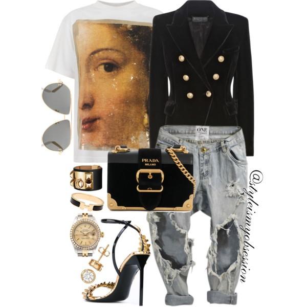Style Inspiration Renaissance Balmain Velvet Blazer Golden Goose Renaissance T-Shirt One Teaspoon Jeans Saint Laurent Edie Sandal Prada Cahier Bag.jpg
