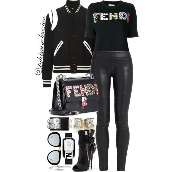 Style Inspiration F Is For Fendi Saint Laurent Varsity Jacket Fendi Fun Fair Logo T-Shirt The Row Leather Leggings Fendi Kan I Bag Giuseppe Zanotti Biker Peep Toe Booties.jpg