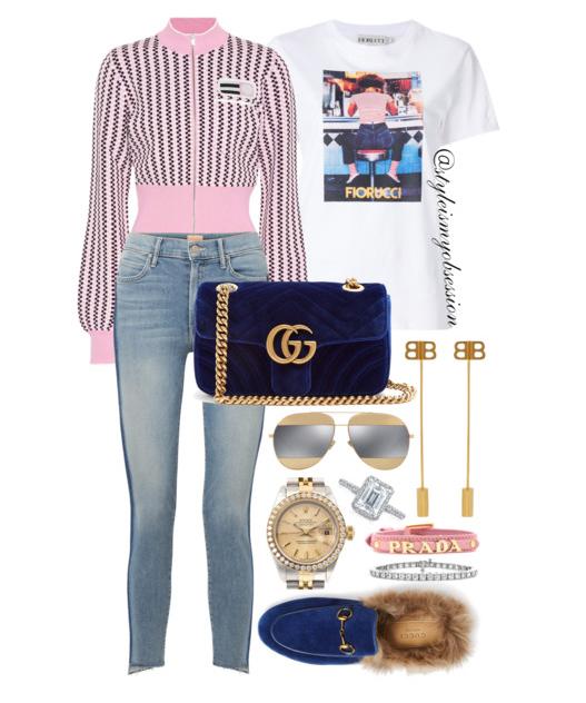 Style Inspiration Malts & Milkshakes Miu Miu Jacket Gucci GG Marmont Velvet Bag Gucci Princetown Slipper Fiorucci Graphic Print T-Shirt.PNG