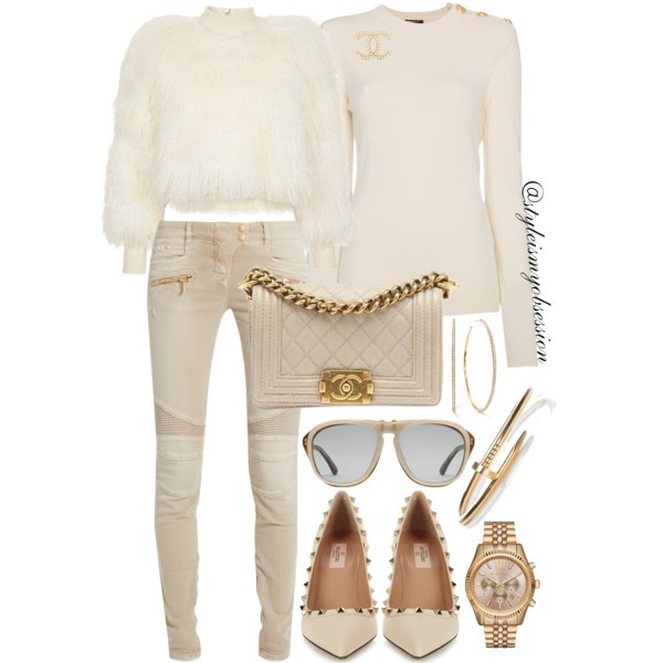 Style Inspiration French Vanilla Balmain Cashmere Sweater Balmain Moto Skinny Jeans Valentino Rockstud Patent Leather Pump Chanel Boy Bag.jpg