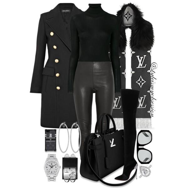 Style Inspiration Lady LV Balmain Coat Tom Ford Sweater By Malene Birger Leggings Casadei Techno Boots Louis Vuitton Reykjavik Fur Scarf.jpg