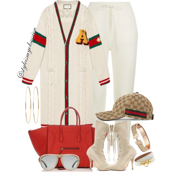 Style Inspiration Shopping Day Gucci Chunky Cable Knit Cardigan DKNY Joggers Yeezy Knit Sock Boot Celine Red Phantom Bag.jpg