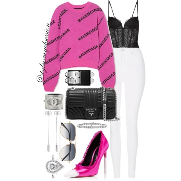 Style Inspiration Balenciaga Babe Balenciaga Intarsia Wool Sweater Prada Quilted Leather Shoulder Bag Tom Ford Frayed Pump La Perla Black Lace Bustier.jpg