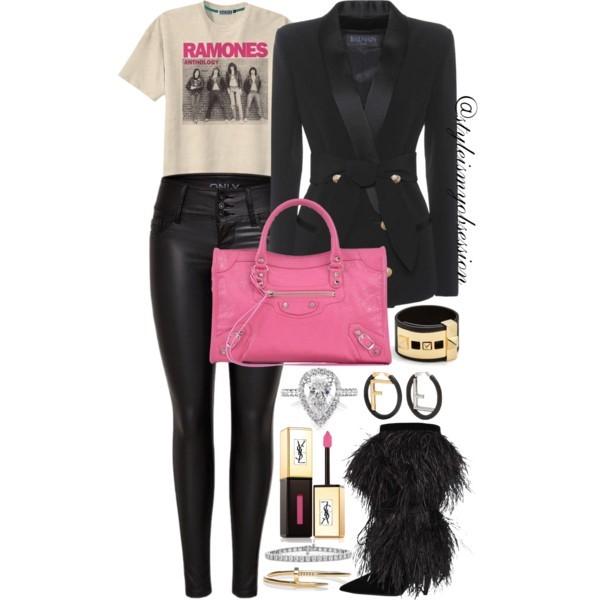 Style Inspiration Shaking In My Boots Balmain Tuxedo Blazer Balenciaga Metallic Edge City Bag Saint Laurent Era Boots.jpg