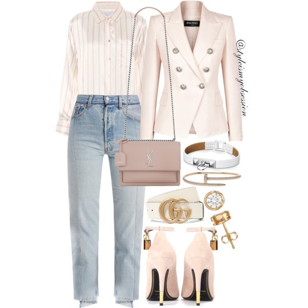 Style Inspiration Pajama Day Balmain Pale Pink Double-Breasted Blazer Asceno Striped Pajama Shirt Vetements Cropped Straight-Leg Jeans Tom Ford Embellished Suede Pump Saint Laurent Sunset Bag.jpg