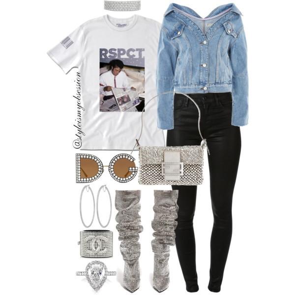 What To Wear For Black History Month Michael Jackson Inspired Outfit Idea Topshop Denim Jacket Served Fresh RSPCT Michael Jackson T-Shirt Saint Laurent Niki Crystal-Embellished Boots Dolce & Gabbana DG Crystal Sunglasses.jpg