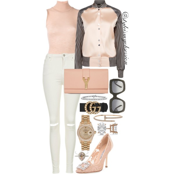 Style Inspiration Nearly Nude La Perla Bomber Jacket T By Alexander Top Topshop Jamie Ripped Jeans Manolo Blahnik Hangisi Lace Pump.jpg
