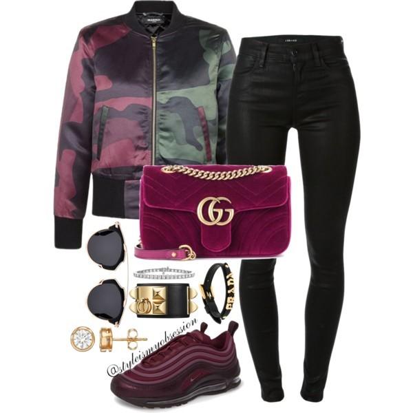 Style Inspiration Grapevine Split DPM Bomber Jacket J Brand Maria Skinny Jeans Nike Air Max 97 Ultra Sneaker Gucci GG Marmont Velvet Bag Dior So Real Sunglasses.jpg