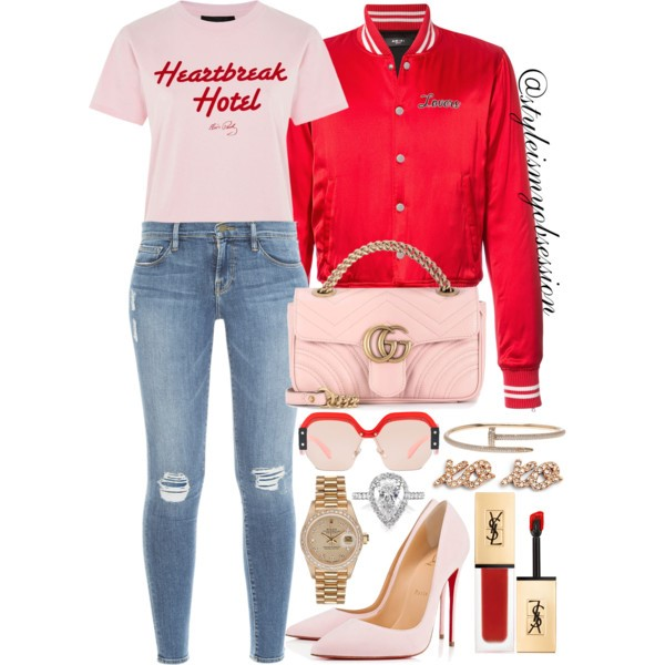 Style Inspiration Heart Breaker Amiri Lovers Bomber Jacket Topshop Heartbreak Hotel T-Shirt Frame Denim Skinny Jeans Chrisitan Louboutin Pink Suede So Kate Pump Gucci GG Marmont Leather Bag.jpg